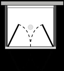 FR2P + FRFIX2 : Double porte pivotante avec 2 parois latérales fixes (d'angle)