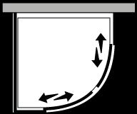 LSSC + LKFI : Quart de rond avec 2 portes coulissantes et paroi latérale fixe (d'angle)