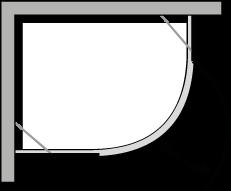 QBCC : Quart de rond avec une porte pivotante pour receveurs avec un rayon de 38 cm