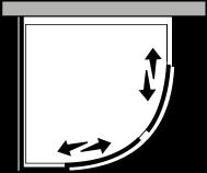 QSSC + QUFI R55 : Quart de rond avec deux portes coulissantes et une paroi latérale fixe pour receveurs avec un rayon de 55 cm