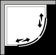 QSSC R38 : Quart de rond avec deux portes coulissantes pour receveurs avec un rayon de 38 cm
