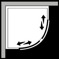 FRSC : Quart de rond avec 2 portes coulissantes