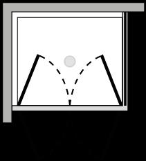 FR2P + FRFI : Double porte pivotante avec paroi latérale fixe (d'angle)