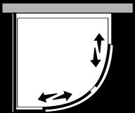 FRSC + FRFI : Quart de rond avec 2 portes coulissantes et paroi latérale fixe (d'angle)