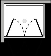 LB2P + LKFI : Double porte pivotante avec paroi latérale fixe (d'angle)