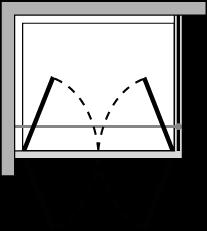 OM2P + OMFX : Double porte pivotante avec paroi latérale fixe (d'angle)
