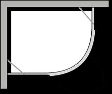 QBCL : Quart de rond avec une porte pivotante pour receveurs avec un rayon de 38 cm
