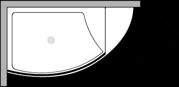 VLPTL + VLFI + VLPO : Receveur de douche de 140 cm de large avec paroi fixe et porte